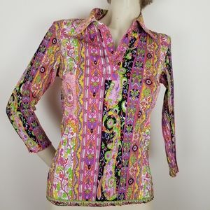 Alberto Makali colorful patterned blouse bold